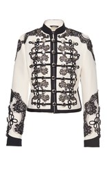 Dolce And Gabbana Lace Embellished Military Jacket White