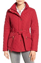 Gallery Women's Belted Quilted Jacket Ruby