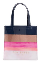 Ted Baker London Marina Mosaic Stripe Small Icon Tote Blue Navy