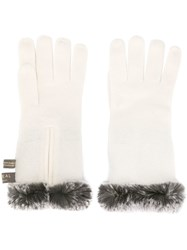 N.Peal Trimmed Gloves White