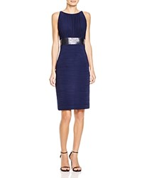 Js Collections Sleeveless Ruched Embellished Waist Dress Navy