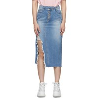 Sjyp Blue Denim Destroyed Long Skirt