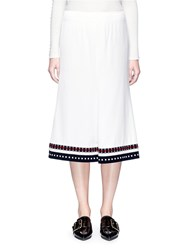 Victoria Beckham Stripe Rib Knit Hem Satin Skirt White