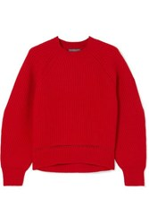Alexander Mcqueen Pointelle Trimmed Ribbed Wool And Cashmere Blend Sweater Red