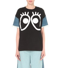 Mini Cream Large Eyes Cotton T Shirt Black
