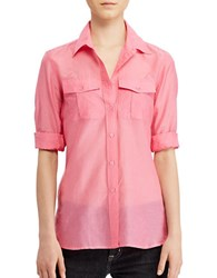 Lauren Ralph Lauren Court Solid Cotton And Silk Relaxed Fit Shirt Peace Rose