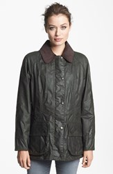 Women's Barbour 'Beadnell' Waxed Cotton Jacket Sage