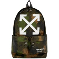 Off White Green Quote Allover Backpack