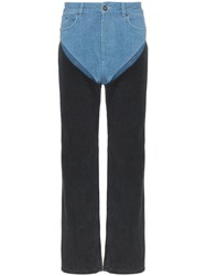 Y Project Two Tone Reconstructed Denim Straight Leg Jeans Black