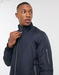 Selected Homme Padded Bomber Jacket In Navy