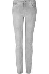 7 For All Mankind Snake Print Mid Rise Skinny Jeans Light Gray