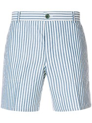 Thom Browne Striped Cuban Detail Wool Patch Shorts Blue