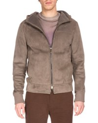 Berluti Hooded Suede Bomber Jacket Railroad