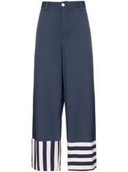 Sunnei Striped Hem Wide Leg Trousers Blue