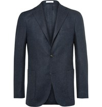 Boglioli Blue Slim Fit Herringbone Slub Virgin Wool Blazer Navy