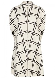 Valentino Ivory Checked Wool Blend Cape White And Black