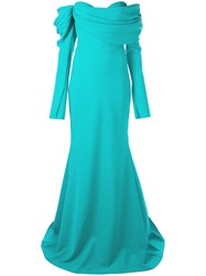 Christian Siriano Off The Shoulder Gown Blue