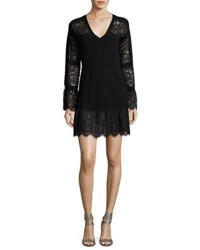 Nanette Lepore Long Sleeve Lace Trim Wool Sweaterdress Black