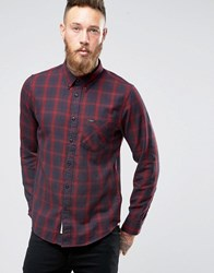 Lee Buttondown Brushed Check Shirt Maroon Maroon Port Red