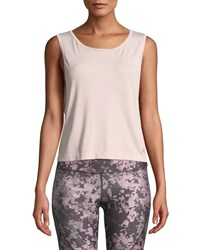 Under Armour Cropped Scoop Neck Activewear Muscle Tank Pink Silver