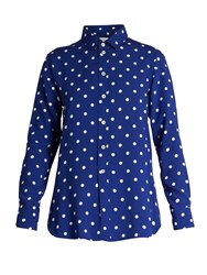 Saint Laurent Polka Dot Print Viscose Crepe De Chine Shirt Blue White