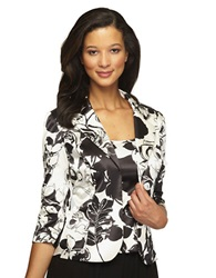 Alex Evenings Plus Floral Print Stretch Satin Twinset Black White