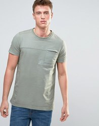 Esprit T Shirt With Cut And Sew Patch Details Taupe Grey