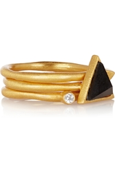 Kevia Set Of Three Gold Tone Onyx And Crystal Rings Black