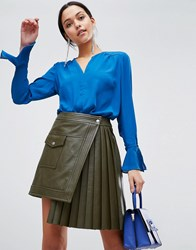 Traffic People V Neck Top With Flute Sleeves Navy
