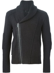 Les Hommes Shawl Collar Ribbed Cardigan Brown