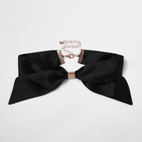 River Island Womens Black Bow Fabric Choker