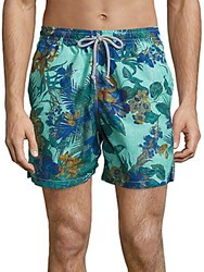 Saks Fifth Avenue Collection Hawaiian Floral Printed Swim Shorts Blue