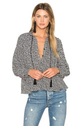 Line And Dot Camellia Peasant Blouse Black And White