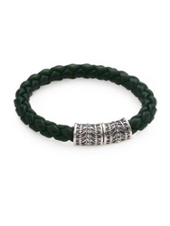 Stephen Webster Sterling Silver And Woven Rubber Bracelet Green Grey