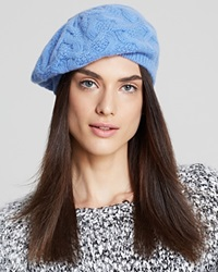 C By Bloomingdale's Cashmere Cable Knit Beret Libertine Blue