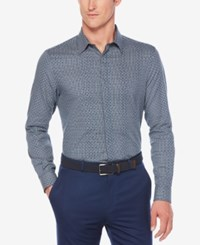 Perry Ellis Men's Dot On Check Dobby Cotton Shirt Blue Wing Teal