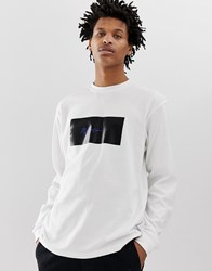 Mennace Long Sleeve T Shirt With Signature Box Logo In White