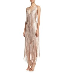 Herve Leger V Neck Sleeveless Foil Fringe Midi Cocktail Dress Pink Gold