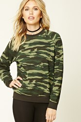 Forever 21 Camo Print Fleece Sweater Olive Black