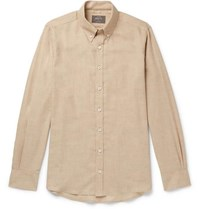 Private White V.C. Slim Fit Button Down Collar Cotton And Wool Blend Shirt Beige