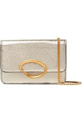 Oscar De La Renta O Chain Metallic Textured Leather Shoulder Bag Gold
