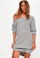 Missguided Grey Off Shoulder Knit Sweater Dress
