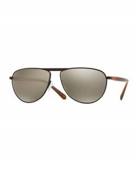 Oliver Peoples Pour Berluti Conduit Street 59 Mirrored Pilot Sunglasses Tobacco Bis Black