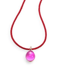 Pomellato Rouge Passion Jungle Cabochon And Braided Cord Necklace Pink Sapphire