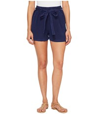 Lucky Brand Tie Front Linen Shorts In American Navy American Navy Women's Shorts
