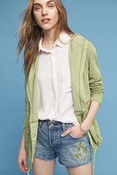 Anthropologie Woven Anorak Hoodie Green