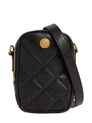 Versace Mini Quilted Leather Crossbody Bag Black