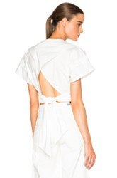 Nicholas Crop Shirt With Waistband Tie In White