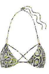 Agent Provocateur L'agent By Mercades Embellished Printed Triangle Bikini Top Snake Print