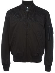 Marcelo Burlon County Of Milan Embroidered Wing Bomber Jacket Black